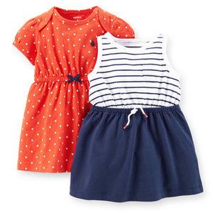 Carters Baby Girl 2-pk Dress Set Red Blue White